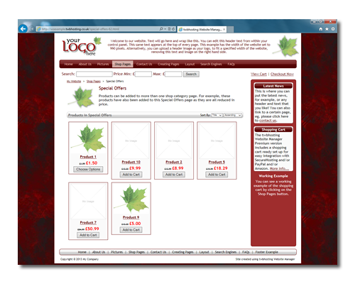 Click here to see a working example of the twbhosting Website Manager